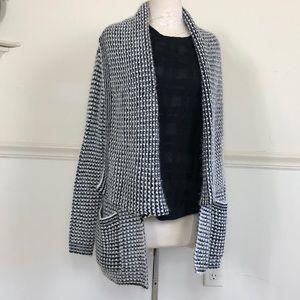 ELAN S Black & White Cascade Cardigan sweater
